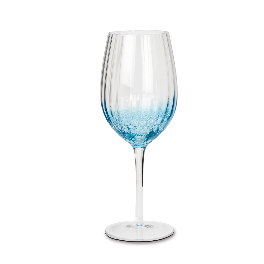 Abbott Collection Optic Bubble Red Wine Glass Blue